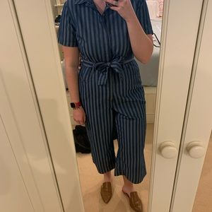 Blue striped chambray jumpsuit
